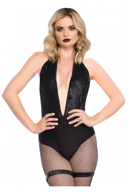 Shimmer Sequin Black Halter Bodysuit at Sensual Elegance Fashion, Lingerie and Shoes, Women's Sexy Clothing & Lingerie - Clubwear, Plus Size Clothing & Accessories
