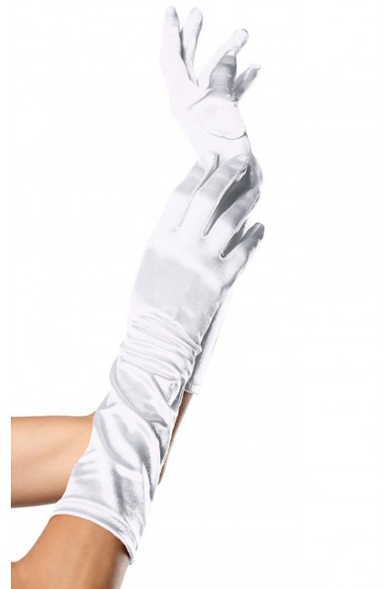 White Satin Elbow Length Gloves at Sensual Elegance Fashion, Lingerie and Shoes, Women's Sexy Clothing & Lingerie - Clubwear, Plus Size Clothing & Accessories