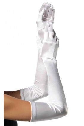 Satin Extra Long White Bridal Opera Gloves