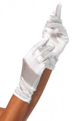 White Wrist Length Satin Gloves