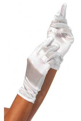 White Wrist Length Satin Gloves Sensual Elegance Fashion, Lingerie and Shoes Women's Sexy Clothing & Lingerie - Clubwear, Plus Size Clothing & Accessories