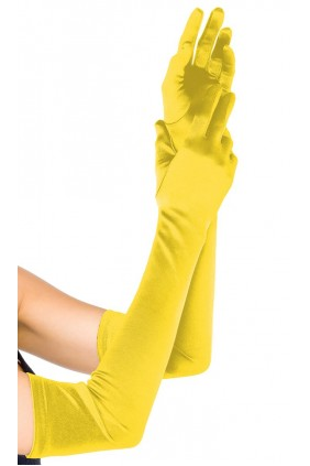 Yellow Satin Extra Long Opera Gloves