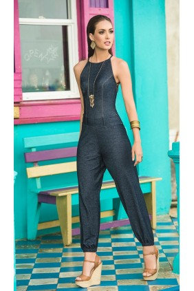 Halter Lattice Back Denim Jumpsuit Sensual Elegance Fashion, Lingerie and Shoes Women's Sexy Clothing & Lingerie - Clubwear, Plus Size Clothing & Accessories