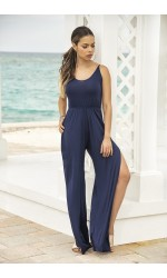 Split Leg Navy Blue Jumpsuit