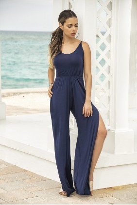 Split Leg Navy Blue Jumpsuit Sensual Elegance Fashion, Lingerie and Shoes Women's Sexy Clothing & Lingerie - Clubwear, Plus Size Clothing & Accessories