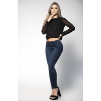 Butt Lifting Blue Jeans with Side Zipper