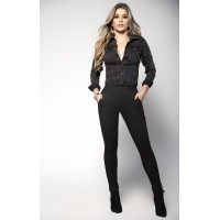 Black High Waist Jeans with Corseted Back