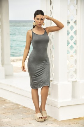 Slinky Gray Tank Dress Sensual Elegance Fashion, Lingerie and Shoes Women's Sexy Clothing & Lingerie - Clubwear, Plus Size Clothing & Accessories