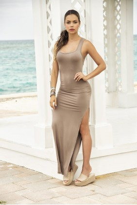 Taupe Lace Up Back Maxi Dress Sensual Elegance Fashion, Lingerie and Shoes Women's Sexy Clothing & Lingerie - Clubwear, Plus Size Clothing & Accessories