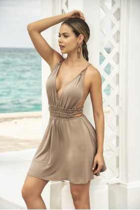 Taupe Goddess Mini Dress Sensual Elegance Fashion, Lingerie and Shoes Women's Sexy Clothing & Lingerie - Clubwear, Plus Size Clothing & Accessories