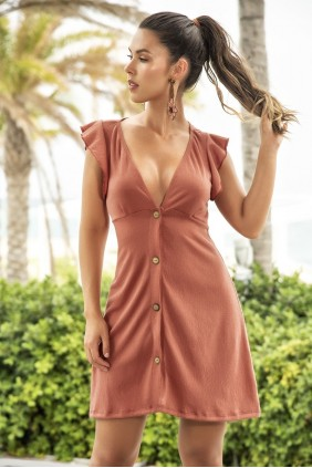 Flutter Sleeve Terracotta Shirt Dress Sensual Elegance Fashion, Lingerie and Shoes Women's Sexy Clothing & Lingerie - Clubwear, Plus Size Clothing & Accessories