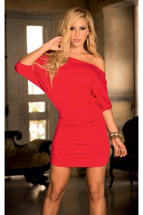 Red Hot One Shoulder Date Dress Sensual Elegance Fashion, Lingerie and Shoes Women's Sexy Clothing & Lingerie - Clubwear, Plus Size Clothing & Accessories