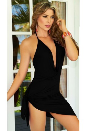Black Summer Vibes Plunge Dress Sensual Elegance Fashion, Lingerie and Shoes Women's Sexy Clothing & Lingerie - Clubwear, Plus Size Clothing & Accessories