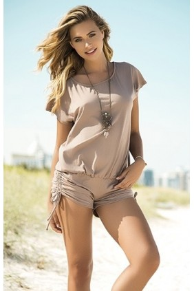 Scoop Neck Taupe Romper Sensual Elegance Fashion, Lingerie and Shoes Women's Sexy Clothing & Lingerie - Clubwear, Plus Size Clothing & Accessories