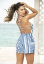 Striped Blue Romper at Sensual Elegance Fashion, Lingerie and Shoes, Women's Sexy Clothing & Lingerie - Clubwear, Plus Size Clothing & Accessories