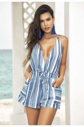 Striped Blue Romper Sensual Elegance Fashion, Lingerie and Shoes Women's Sexy Clothing & Lingerie - Clubwear, Plus Size Clothing & Accessories