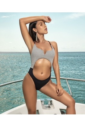 Black and White Cut Out 1 Piece Swimsuit Sensual Elegance Fashion, Lingerie and Shoes Women's Sexy Clothing & Lingerie - Clubwear, Plus Size Clothing & Accessories
