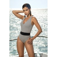 Polka Dot One Piece Swimsuit with Racer Back