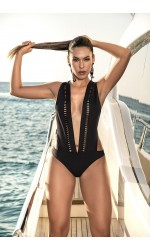 Black Wide Strap One Piece Swimsuit