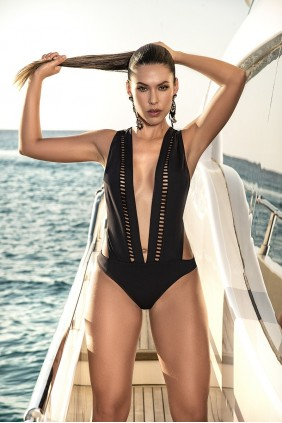 Black Wide Strap One Piece Swimsuit Sensual Elegance Fashion, Lingerie and Shoes Women's Sexy Clothing & Lingerie - Clubwear, Plus Size Clothing & Accessories