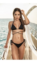 Tie Side Black Thong Bikini