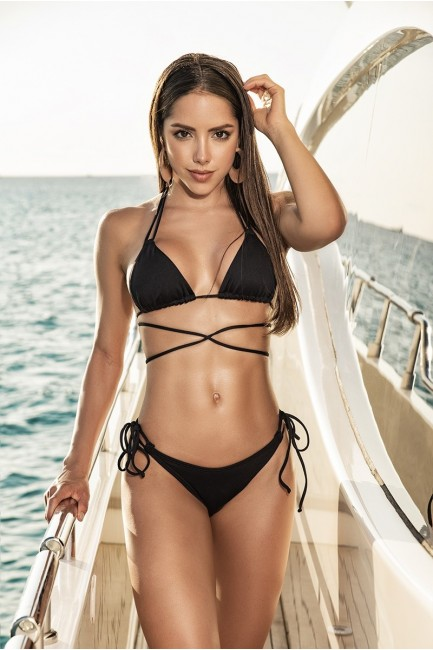 Tie Side Black Thong Bikini at Sensual Elegance Fashion, Lingerie and Shoes, Women's Sexy Clothing & Lingerie - Clubwear, Plus Size Clothing & Accessories