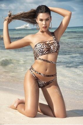 Leopard Print One Shoulder Bikini Sensual Elegance Fashion, Lingerie and Shoes Women's Sexy Clothing & Lingerie - Clubwear, Plus Size Clothing & Accessories