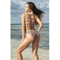 Lattice Back Leopard Print Swimsuit