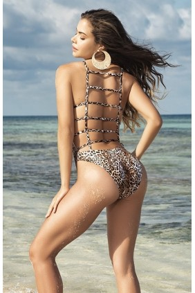Lattice Back Leopard Print Swimsuit Sensual Elegance Fashion, Lingerie and Shoes Women's Sexy Clothing & Lingerie - Clubwear, Plus Size Clothing & Accessories