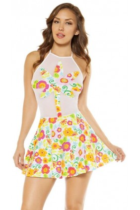 Flower Print Skater Dress Sensual Elegance Fashion, Lingerie and Shoes Women's Sexy Clothing & Lingerie - Clubwear, Plus Size Clothing & Accessories