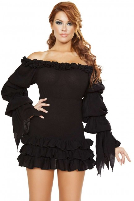 Ruffled Black Gothic Pirate Dress at Sensual Elegance Fashion, Lingerie and Shoes, Women's Sexy Clothing & Lingerie - Clubwear, Plus Size Clothing & Accessories
