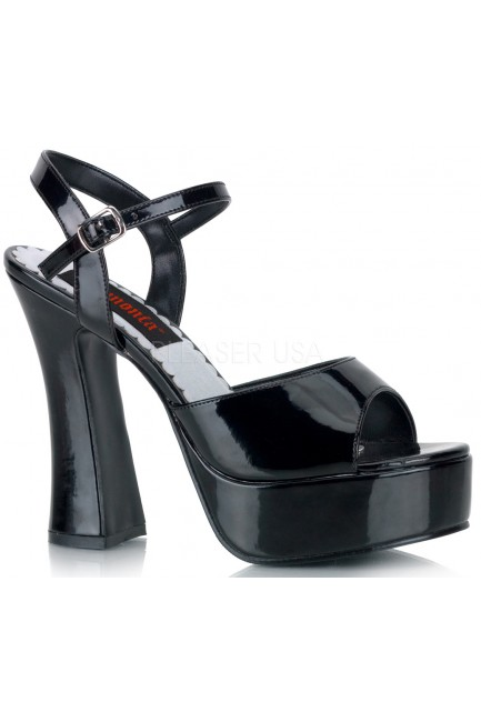 Dolly Black Patent Platform Chunky Heel Sandal at Sensual Elegance Fashion, Lingerie and Shoes, Women's Sexy Clothing & Lingerie - Clubwear, Plus Size Clothing & Accessories