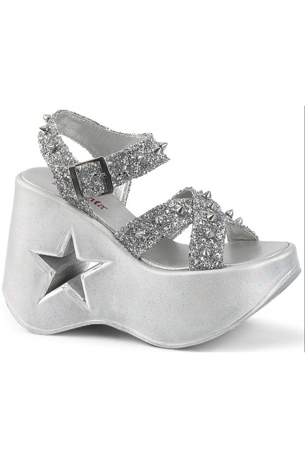 Dynamite Star Womens Platform Silver Sandal at Sensual Elegance Fashion, Lingerie and Shoes, Women's Sexy Clothing & Lingerie - Clubwear, Plus Size Clothing & Accessories