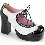 Black and White Heart Cut Out Mary Jane Pump