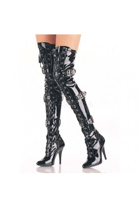 Seduce Buckled Black Patent Thigh High Boots Sensual Elegance Fashion, Lingerie and Shoes Women's Sexy Clothing & Lingerie - Clubwear, Plus Size Clothing & Accessories