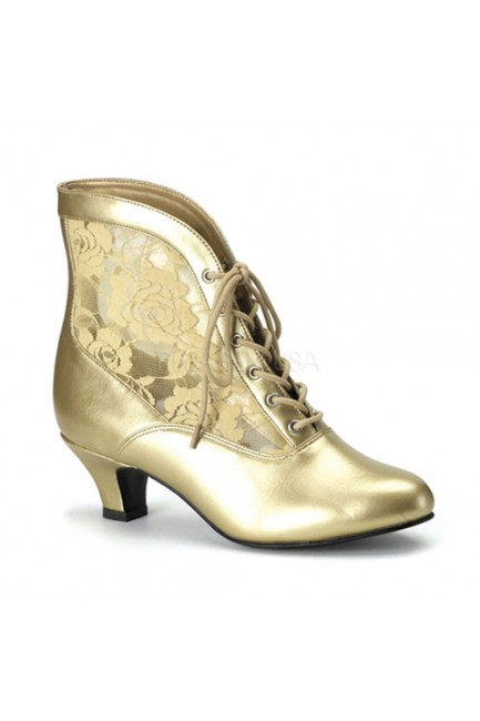 Victorian Dame Gold Ankle Boot at Sensual Elegance Fashion, Lingerie and Shoes, Women's Sexy Clothing & Lingerie - Clubwear, Plus Size Clothing & Accessories