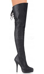 Indulge Leather Thigh High Platform Boot