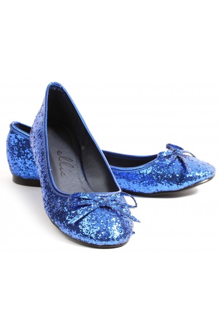 Blue Glitter Mila Ballet Flats at Sensual Elegance Fashion, Lingerie and Shoes, Women's Sexy Clothing & Lingerie - Clubwear, Plus Size Clothing & Accessories