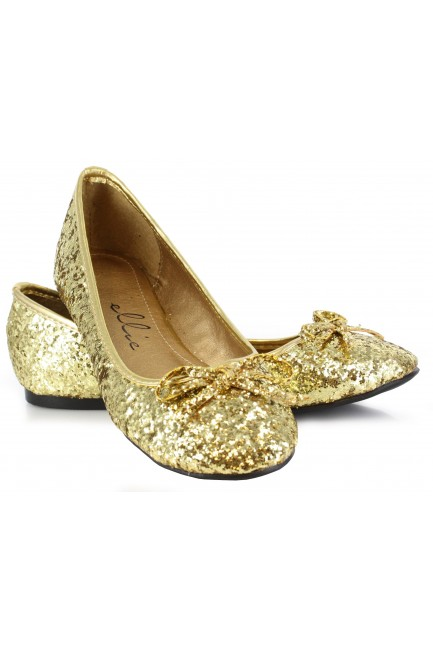 Gold Glitter Mila Ballet Flats at Sensual Elegance Fashion, Lingerie and Shoes, Women's Sexy Clothing & Lingerie - Clubwear, Plus Size Clothing & Accessories