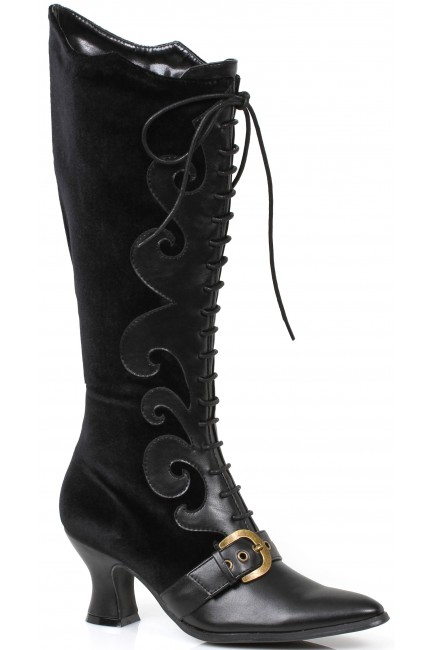 Fain Black Velvet Witches Boot at Sensual Elegance Fashion, Lingerie and Shoes, Women's Sexy Clothing & Lingerie - Clubwear, Plus Size Clothing & Accessories