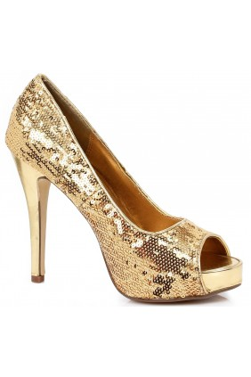 Gold Flamingo Sequin Peep Toe Pumps