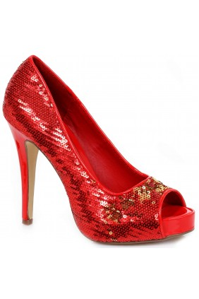 Red Flamingo Sequin Peep Toe Pumps
