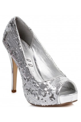 Silver Flamingo Sequin Peep Toe Pumps