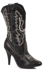 Black Scrolled Cowgirl Boots
