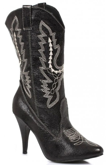Black Scrolled Cowgirl Boots at Sensual Elegance Fashion, Lingerie and Shoes, Women's Sexy Clothing & Lingerie - Clubwear, Plus Size Clothing & Accessories