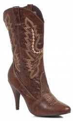 Brown Scrolled Cowgirl Boots