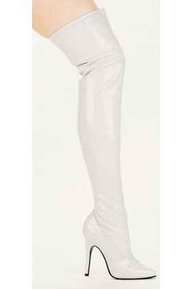 Ally White Thigh High 5 Inch Heel Boot