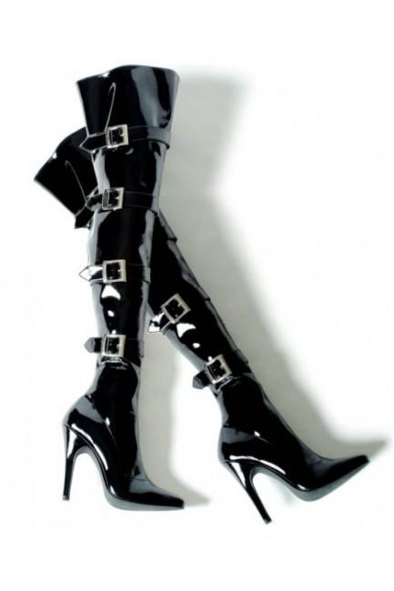 Buckle Up Black Thigh High 5 Inch Heel Boot