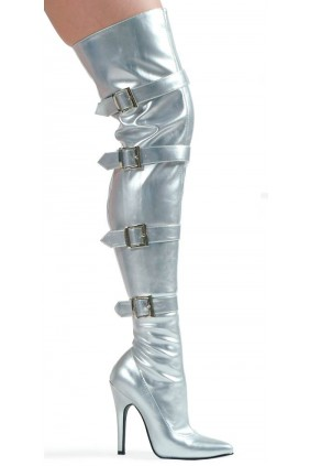 Buckle Up Silver Thigh High 5 Inch Heel Boot Sensual Elegance Fashion, Lingerie and Shoes Women's Sexy Clothing & Lingerie - Clubwear, Plus Size Clothing & Accessories