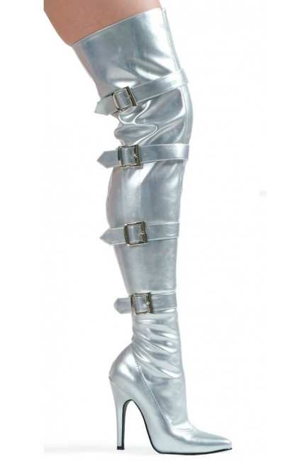 Buckle Up Silver Thigh High 5 Inch Heel Boot at Sensual Elegance Fashion, Lingerie and Shoes, Women's Sexy Clothing & Lingerie - Clubwear, Plus Size Clothing & Accessories